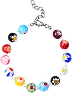 Shop LC Delivering Joy Round Bead Strand White Murano Millefiori Glass Stainless Steel Bracelet 7.5
