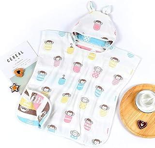 Print Yoga Mat Children'S Bath Towel Cloak Cotton 6 Layer Gauze With Hood Can Have Worn Cloth 60X120Cm 瑜伽垫