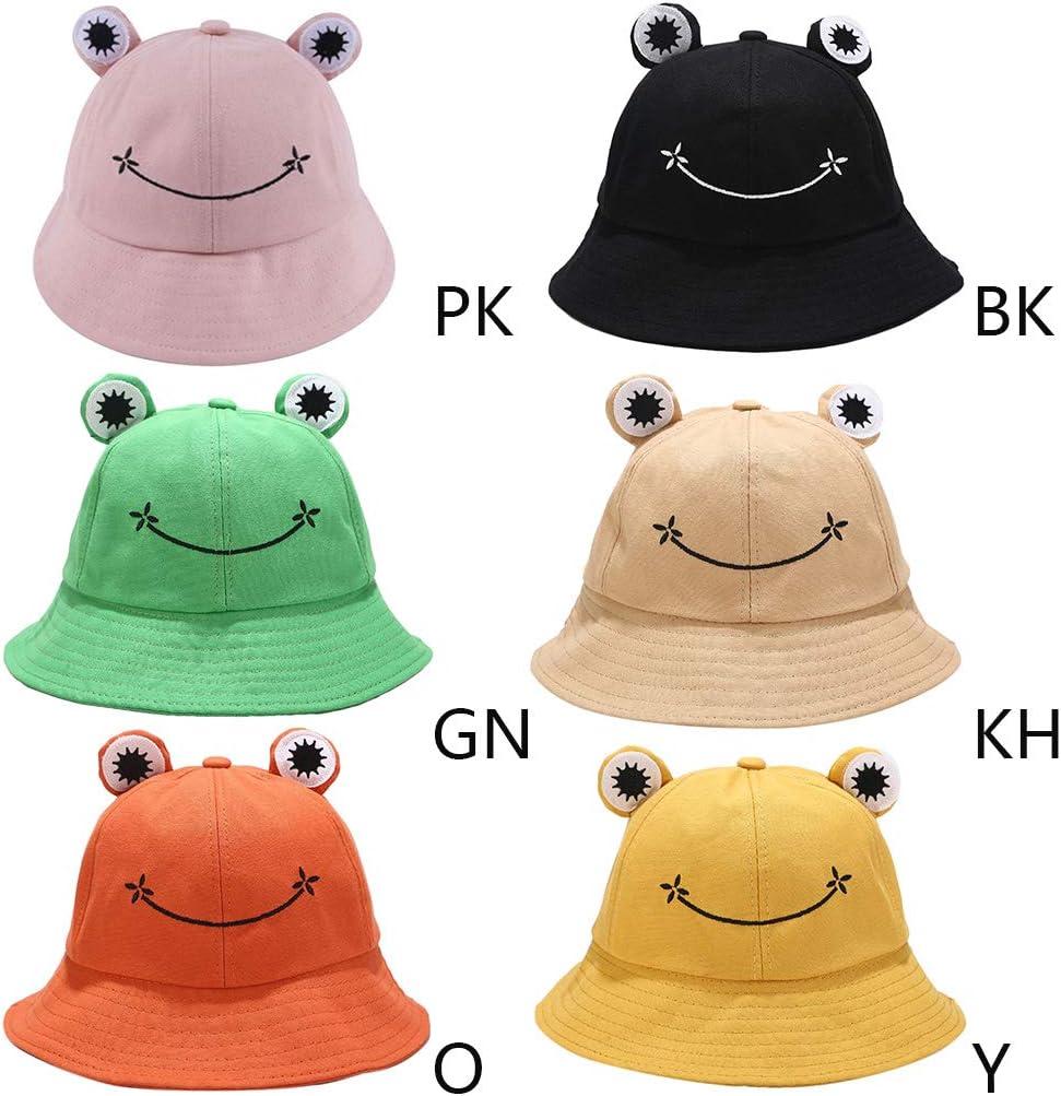 niumanery Kids Cartoon Frog Bucket Hat Wide Brim Sun Protection Adjustable Fisherman Cap Black