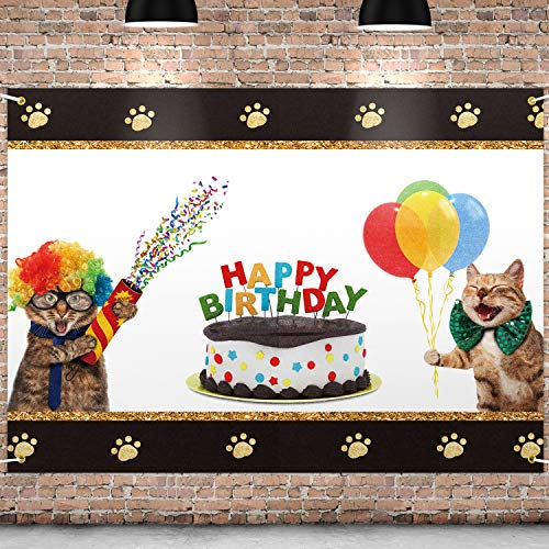 PAKBOOM Happy Birthday Backdrop Black Photo Background Banner Cat Themed Birthday Decorations Party Supplies for Cat Owner Lover Children