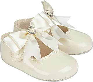 Early Days Baypods, B060 Bar with Diamonte Bow Pre Walker Baby Shoes Made in The Softest Faux Leather, Made in England