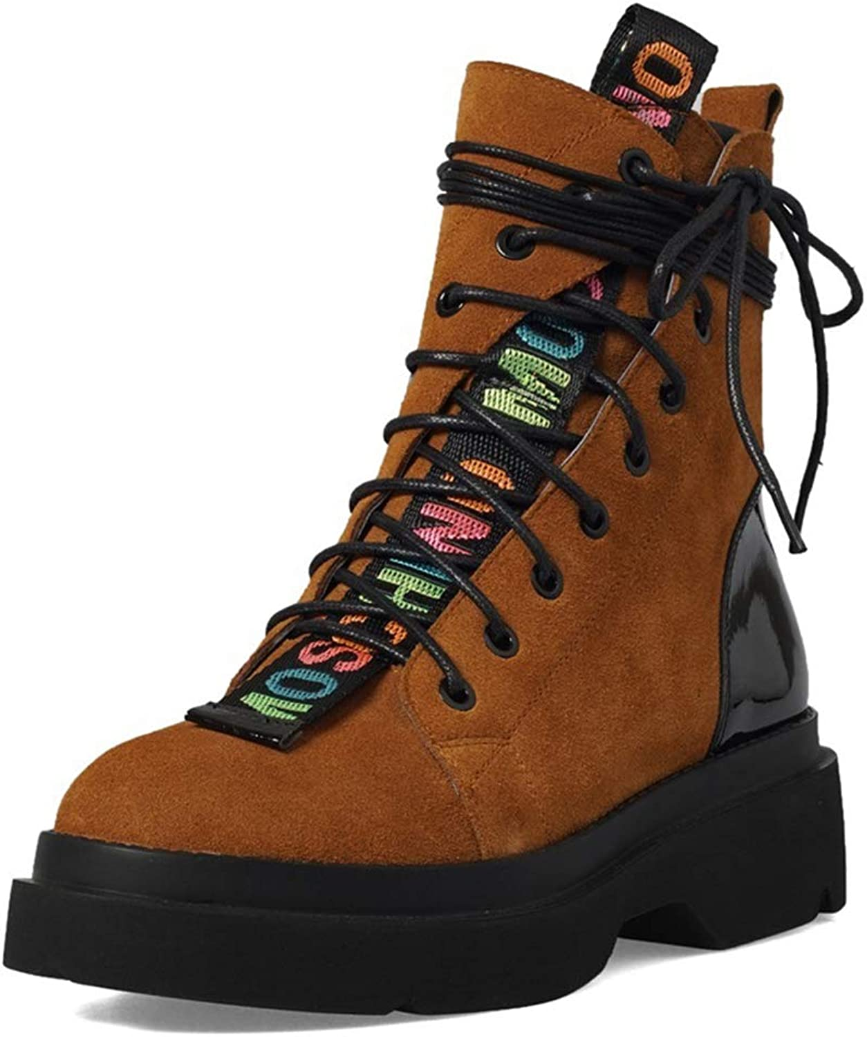 T-JULY Women's shoes Fashion Round Toe Cross-Tied Zip Black and Brown Genuine Leather Med Square Heel Mid Calf Boots