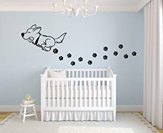 Cute Dog Play Paw Print Puppy Animal Dogs Animals Wall Sticker Art Decal for Girls Boys Room Bedroom Nursery Kindergarten ...