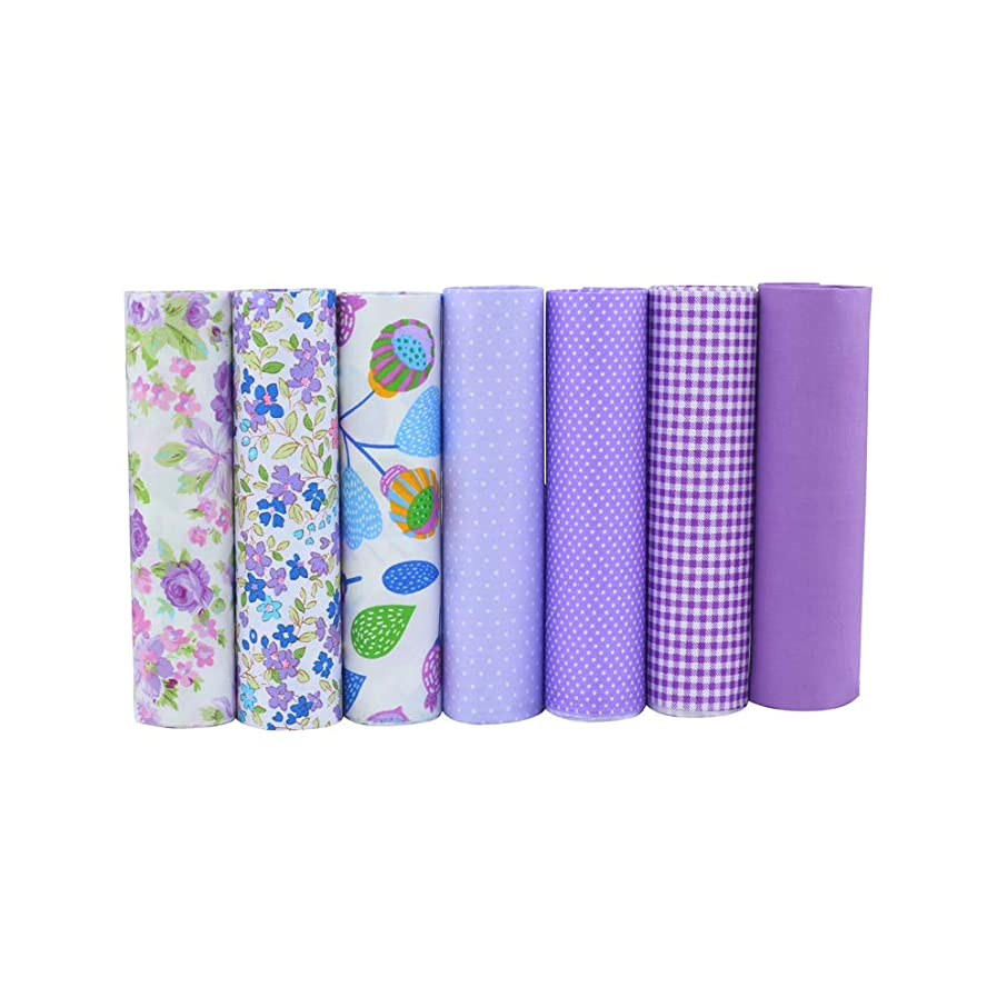 ShuanShuo Coffer Series Cotton Fabric Quilting Patchwork Fabric Fat Quarter Bundles Fabric for Sewing DIY Crafts Handmade Bags 40X50cm 8pcs/lot (Purple)