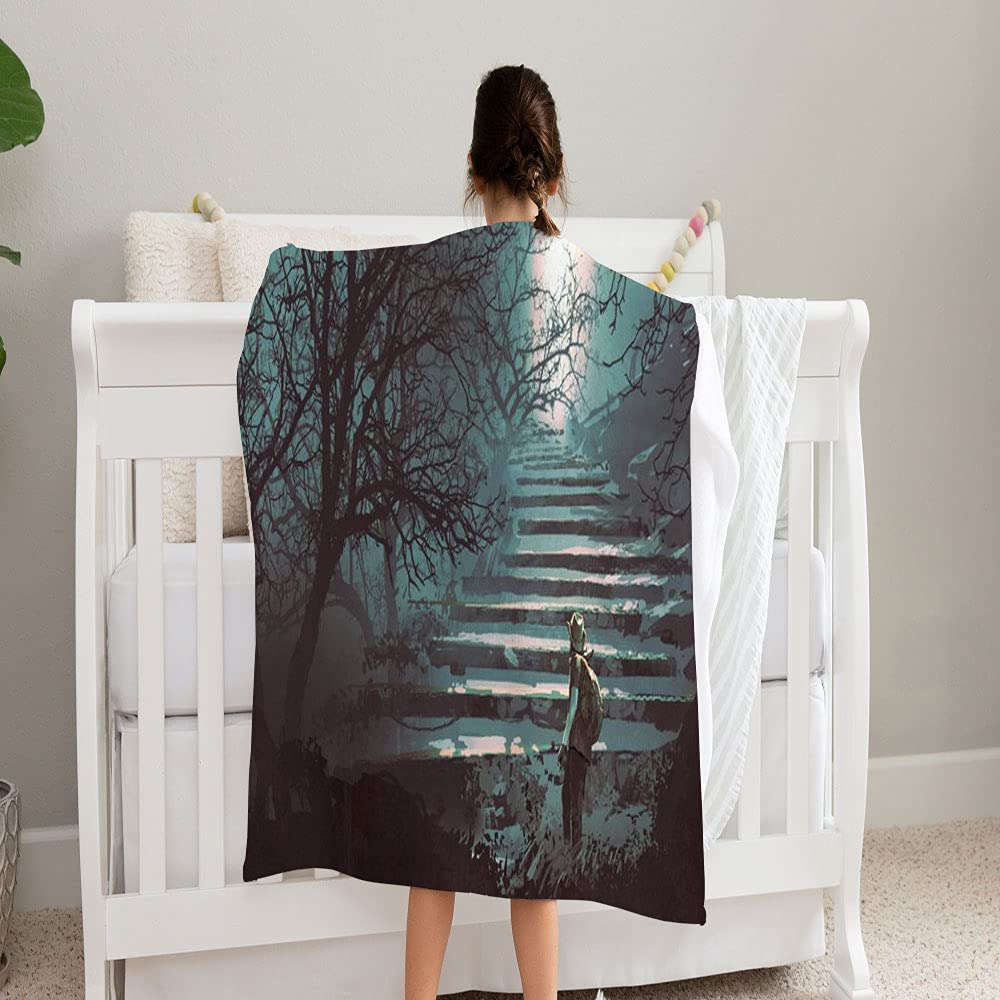 LPVLUX Man Max 44% OFF Climbing Stone National uniform free shipping Stairs Blanket Mysterious Forest Supe