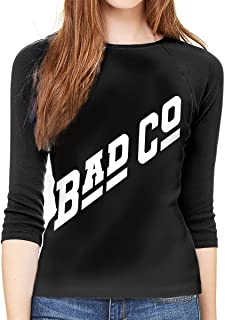 hdghg Camisetas de Manga 3/4 para Mujer,Camisetas para Mujer,Women Long Sleeve T-Shirt, Bad CO Bad Company Rock Music Round Neck T Shirt Baseball Tunic Tops Blouse Ladies Raglan 3/4 Length Sleeve tee