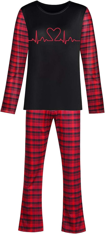 Mens Patchwork Plaid Pajamas Set Classic Sleepwear Valentine's Day Loungewear