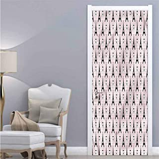 Eiffel,Door Decal Perfume Bottles Romantic for Home Room Decoration W38.5xH79