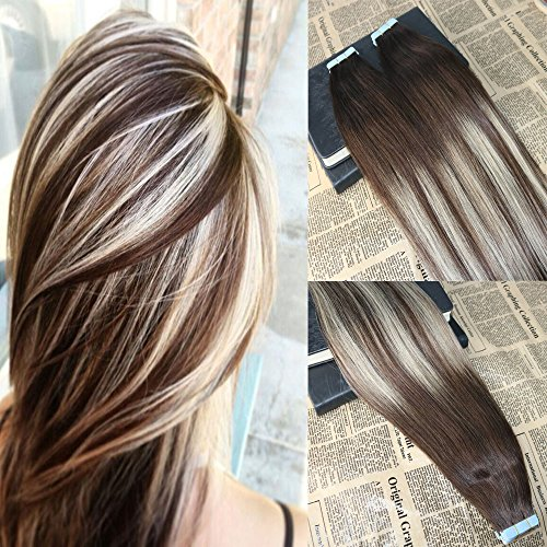 16'' 40Pcs/100g Virgin European Tape in Hair Extensions Skin Weft Hair Extensions Omber #3 Fading to #24 Balayage Hair Tape on Human Hair Extensions Best Quality Seamless Tape in Extensions