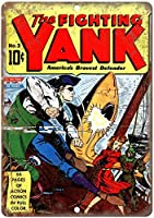 The Fighting Yank Comic 注意看板メタル安全標識注意マー表示パネル金属板のブリキ看板情報サイン