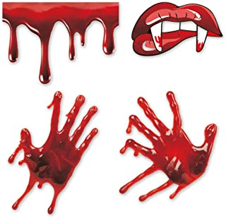 IARTTOP Halloween Bloody Handprint Decal, Vampire Bloody Lips with Sharp Teeth Sticker, Screaming Bloody Decal for Windows...
