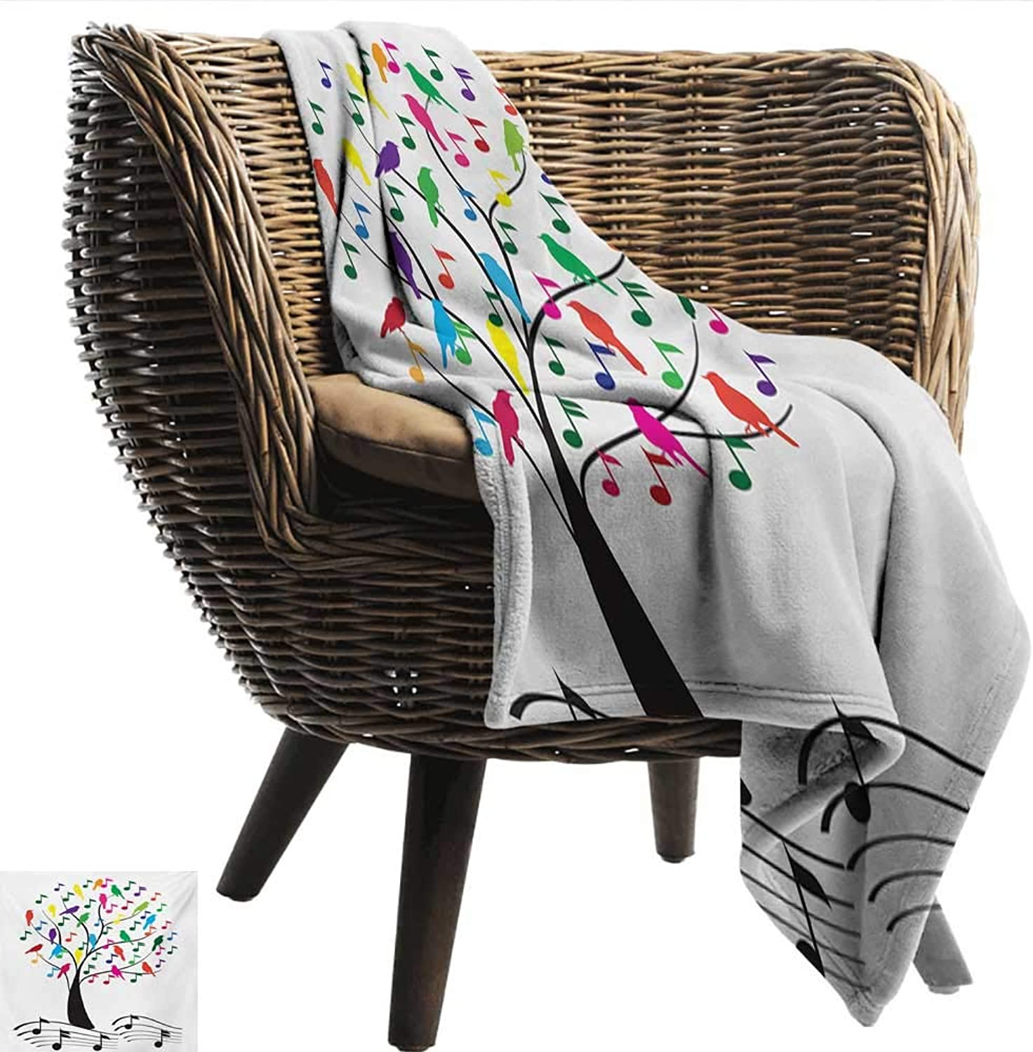 EwaskyOnline Music Flannel Blanket Tree with Musical Notes and Birds on Branch Happy Jolly Celebrating Playful Style Camping Throw,Office wrap 51  W x 60  L Multicolor