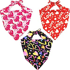 Lamphyface 3 Pack Valentine's Day Dog Bandana Triangle Bib Scarf Accessories with Hearts and Love Designs