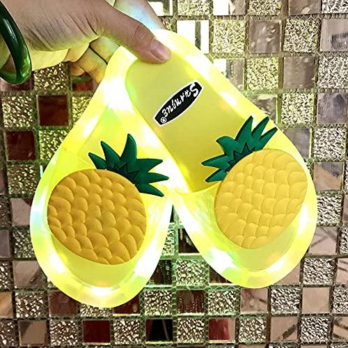 Zapatillas De Casa para Mujer Primavera,Zapatos De Regalo Luminosa, Luces Brillantes De Colores Brillantes En La Noche De Verano, Zapatos De PiñA De Fruta Antideslizante para Padres Y NiñOs, NiñOs Pa