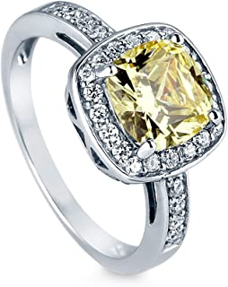Rhodium Plated Sterling Silver Canary Yellow Cushion Cut Cubic Zirconia CZ Halo Engagement Ring 3.42 CTW