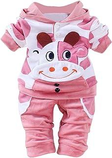 Fossen 2 Piezas/Conjunto Ropa Invierno Bebé Niños Niña Terciopelo Camiseta con Capucha de Vaca de Dibujos Animados y Panta...