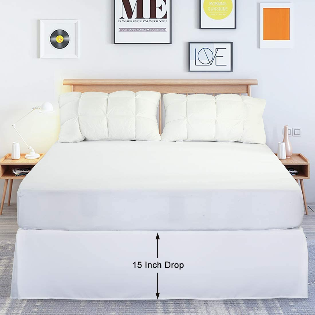 Dark Grey, Queen Hotel Luxury Microfiber 15 Inch Drop Ultra Soft,Wrinkle and Fade Resistant Cooldex Bedding Bed Skirt