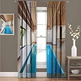 House Decor Collection Premium blackout curtains Apartment with Indoor Pool Wooden Ceiling Private Residence Stylish Home Perspective Picture Kindergarten noise reduction curtains W52 x L63 Inch Blue