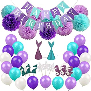 Mermaid Theme Party Favors Supplies Decorations Kit, Girls Birthday Party Decoration, Mermaid Hats, Cupcake Toppers, Paper Pom Poms Flowers, Banner & Balloons