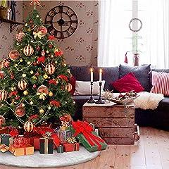 Tenrany Home Falda de Árbol de Navidad, 48 Pulgadas Blanco Peluche Christmas Tree Skirt Felpa Base de Árbol de Navidad para la Navidad año Vacaciones Decoración (90cm)