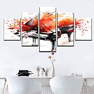 KSjrDdiog5 Pieces of Wall Art W59 x H31.5 inch Graffiti Music Musical Instrument Piano Poster Space Wall Decoration for Ho...