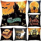 NIBESSER Halloween Kissenbezug 45x45cm, Leinen Halloween Kissenhülle Taille Wurf Kopfkissenbezug...