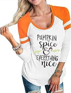 MNLYBABY Pumpkin Spice Every Thing Nice Raglan 3/4 Sleeve T-Shirt Women Halloween Thanksgiving Splicing Top Tees