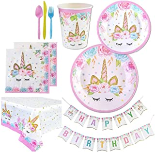Beauenty 114Pcs Unicorn Party Decorations Supplies Set with Party Banner.Plates.Cups.Napkins.Knifes.Forks.Spoon and Tablec...