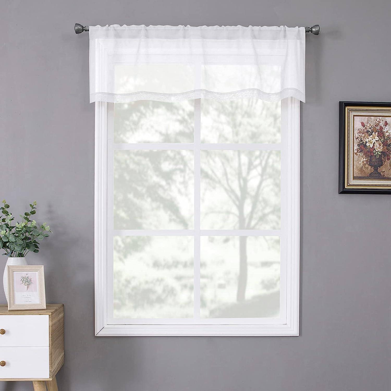 Tollpiz White Sheer Valance Great interest Cash special price Linen Bedroom Curta Textured