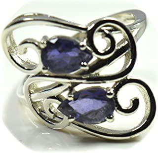 55Carat Natural Blue Iolite Ring Sterling Silver for Women Astrology Jewelry Handmade Size 5,6,7,8,9,10,11,12