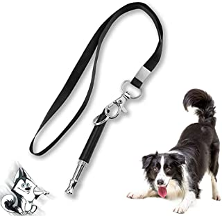 Best Dog Whistle with Free Lanyard, Adjustable Frequencies Ultrasonic Training Whistle Silent Bark Control, Training Whistle to Stop Barking, Action Control Tool for Dogs(Black) Review