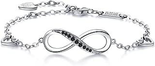 Billie Bijoux Womens 925 Sterling Silver Infinity Endless Love Symbol Charm Adjustable Bracelet Gift for Mother's Day