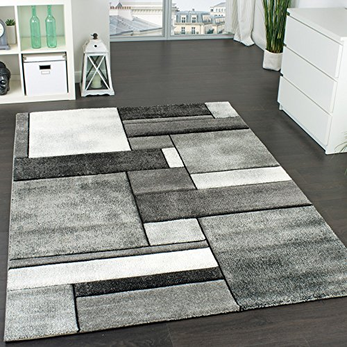 Paco Home Designer Teppich Kariert Wohnzimmer Teppich Modern Trendig Meliert in Grau, Grösse:80x150 cm