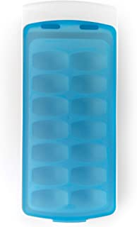 OXO 1132080 Good Grips No-Spill Ice Cube Tray with Silicone Lid, 8.8 oz, White/Blue