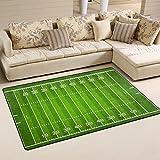 WellLee Sports Area Rug,Standard American Football Field Floor Rug Non-Slip Doormat for Living Dining Dorm Room Bedroom Decor 60x39 Inch