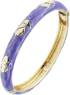 Handcrafted Enamel Jewelry Bracelet Golden Colored Spring Open Cuff Bangle Womnes Gift 55B