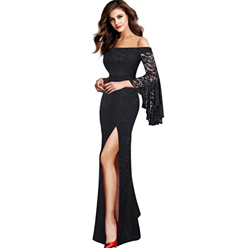 9654f557563 VFSHOW Womens Off Shoulder Bell Sleeve High Slit Formal Evening Party Maxi  Dress