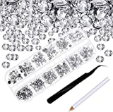 4000 Piezas de Diamantes de Imitacin de Espalda Plana de Vidrio Hot Fix Gemas Cristales Redondas 1,5-6 MM en Caja de Almacenamiento con Pinzas y Bolgrafos de Diamantes(Transparente)