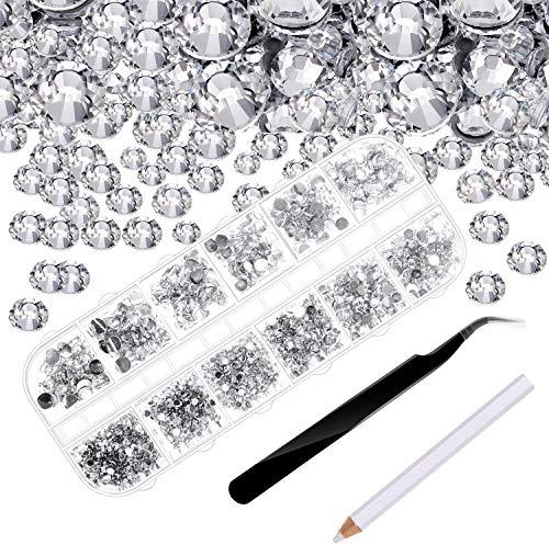 4000 Piezas de Diamantes de Imitación de Espalda Plana de Vidrio Hot Fix Gemas Cristales Redondas 1,5-6 MM en Caja de Almacenamiento con Pinzas y Bolígrafos de Diamantes(Transparente)