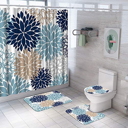 "AtGoWac 4 Pcs Dahlia Pinnata Blue Flower Shower Curtain Set with Non-Slip Rug, Toilet Lid Cover and Bath Mat, Bathroom Decor Shower Curtain with 12 Hooks, Navy Blue Grey Brown 71""x71"""