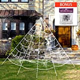 GEJRIO Halloween Decorations, Giant Spider Web with Super Stretch Cobweb Set, Outdoor Yard Spooky Decor, 16 feet, White