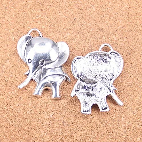 WANM Colgante 4 Uds Encantos Orejas Grandes Elefante 37X31Mm Colgantes Antiguos Joyería De Plata Tibetana Vintage DIY para Collar De Pulsera