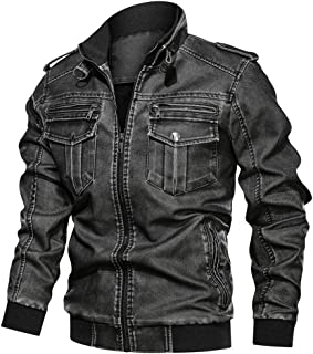 wuliLINL Faux Leather, Hip-Height Washed Denim Coat, Solid Coat for Men