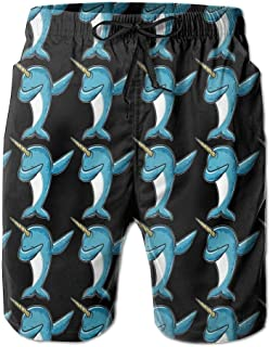 Fashion Men's Beach Pants Funny Narwha Dabbing Narwhal Comfortable Men's Water Sports Quick Dry Swim Trunks,M