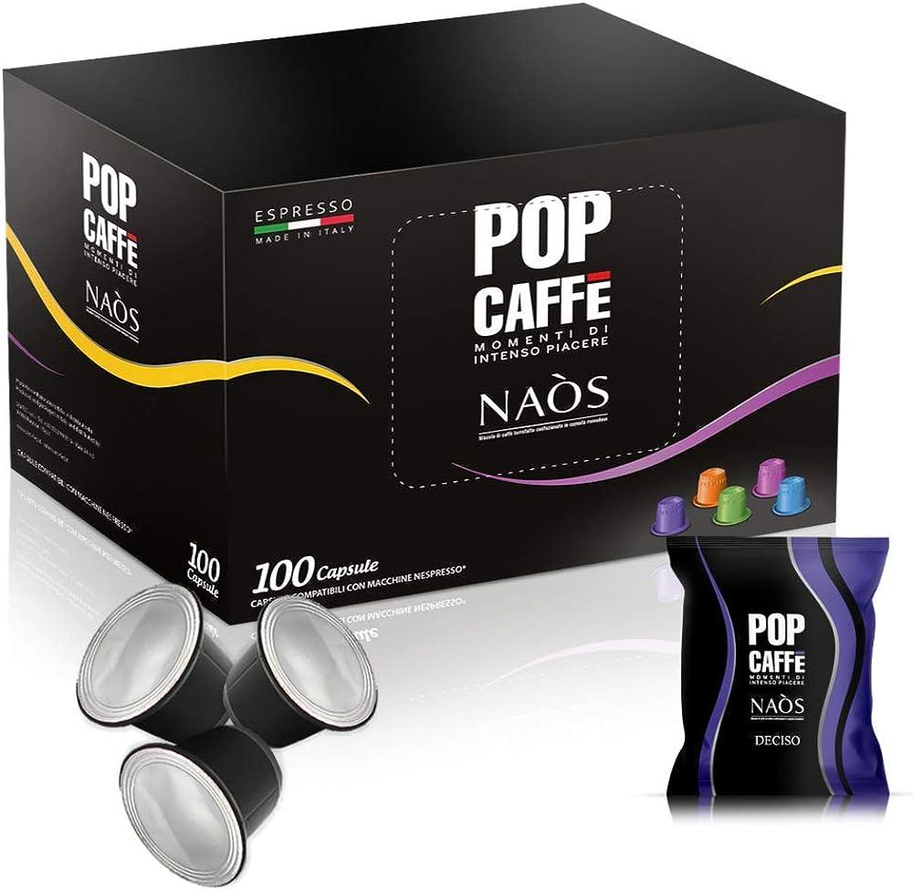 Pop caffe`, naos miscela decisa nespresso compatibile, 100 capsule