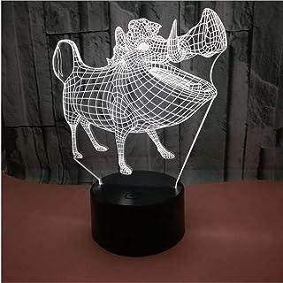 Jabalí Dibujos Animados Resumen 3D Color Luz De Noche Lámpara De Mesa De Acrílico Control Táctil Negro Usb Control De Ahorro De Energía Decoración Regalo Personalizado Luz Led