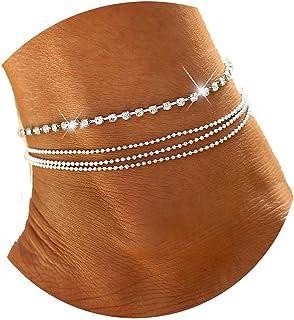 Yheakne Boho Layered Rhinestone Anklet Bracelet Silver Crystal Ankle Bracelet Vintage Tennis Chain Summer Foot Chain Jewel...