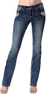 Women's White Floral Embellished Junior Fit Bootcut Jeans | JB-3292