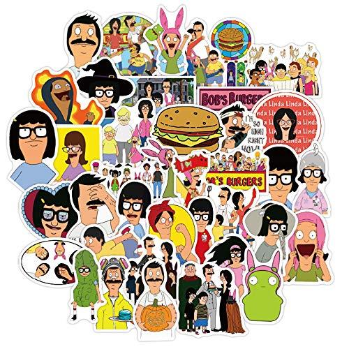 WYZN 50 unids Happy Burger Sticker Personalidad Creativa Diy Niños Scrapbook Decoración Notebook Computer Impermeable Scooter Vinilo Adulto Adolescente Vsco Graffiti Pegatina Calcomanía