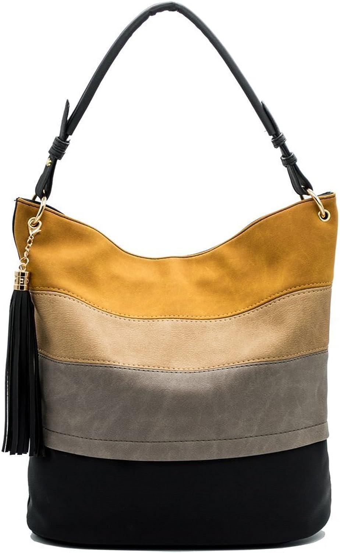 JOYISM Handbags for Women Totes Hobo Shoulder Bags Tassels Stripes Top Handle Bags Gift for Valentine's Day Black